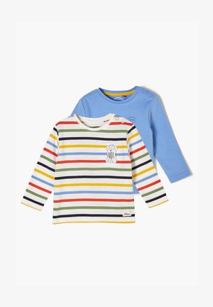 2PACK - Longsleeve - blue placed print/offwhite stripes