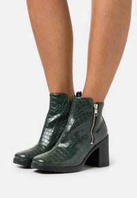 Topshop - BRIDIE ZIP SIDE UNIT - High heeled ankle boots - khaki - 0