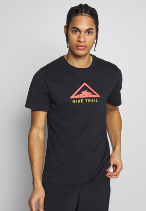 DRY TEE TRAIL - T-shirt med print - black