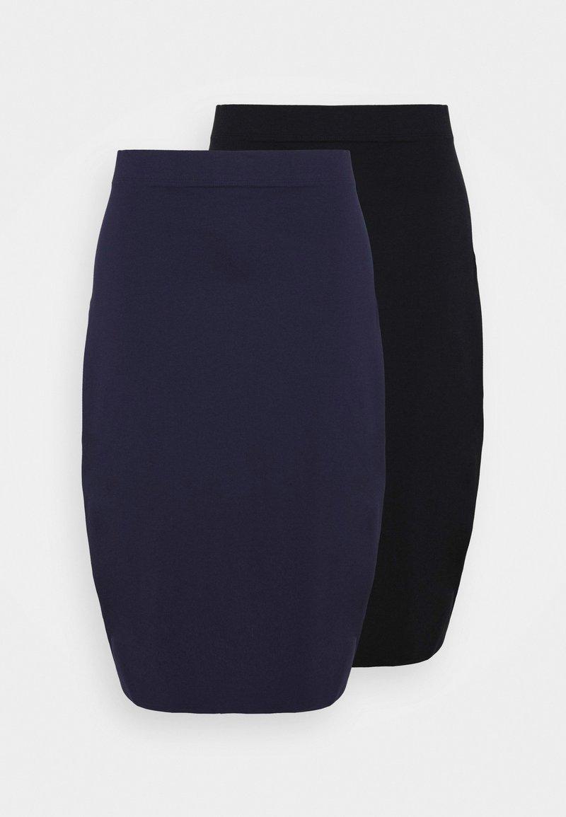 Even&Odd Curvy - 2 PACK - Blyantskjørt - black/blue