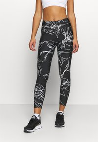 DKNY - ETCH FLORAL PRINT HIGH RISE 7/8 - Leggings - black - 0