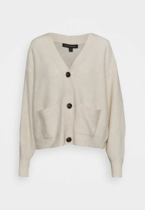 OVERSIZED PATCH POCKET CARDIGAN - Kardigan - ivory