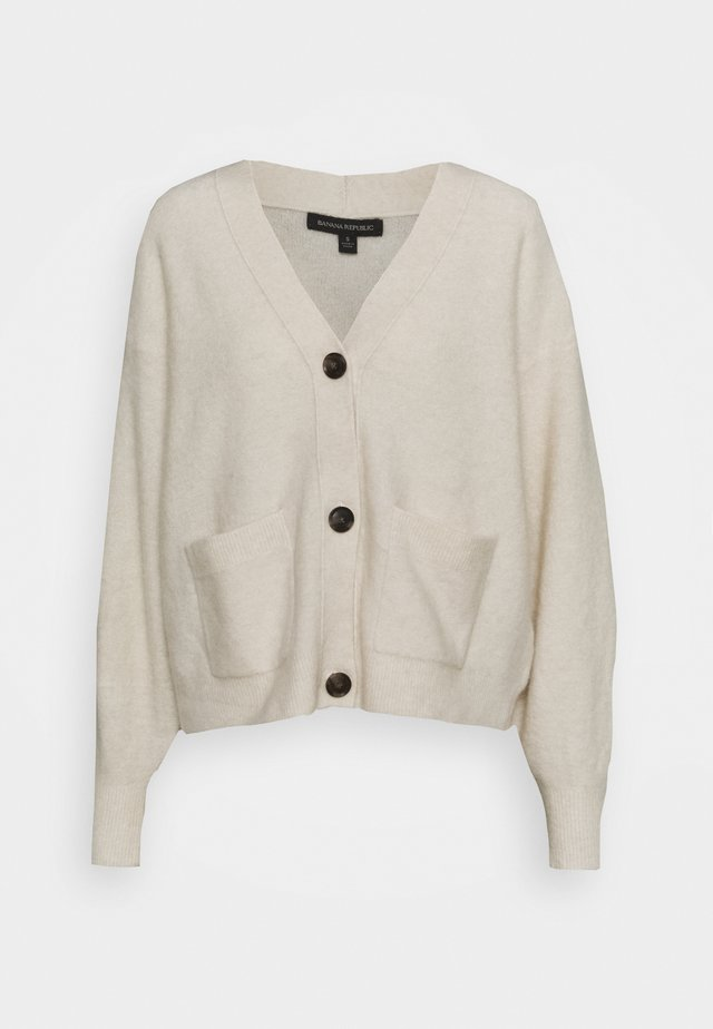OVERSIZED PATCH POCKET CARDIGAN - Gilet - ivory