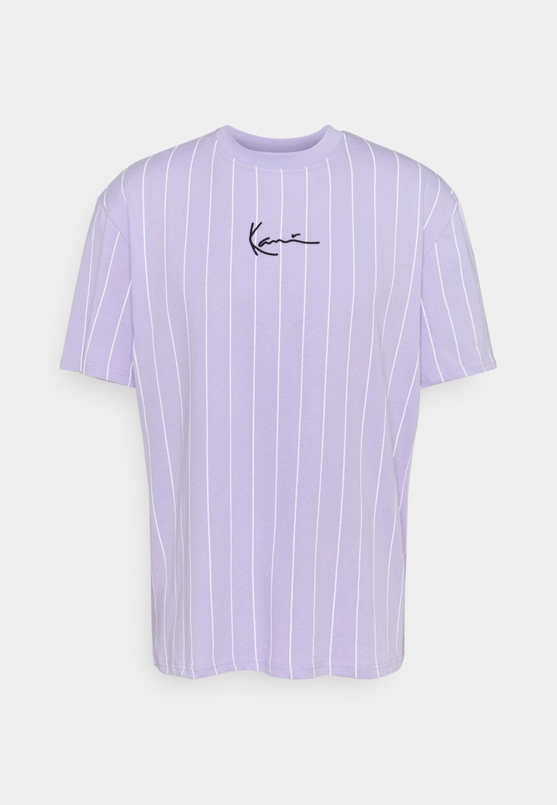 Karl Kani - SMALL SIGNATURE PINSTRIPE TEE UNISEX - Print T-shirt - lilac/white