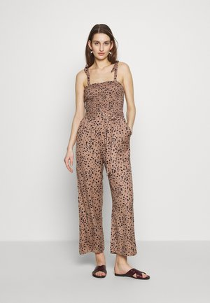 SMOCKED BODICE - Jumpsuit - brown cow
