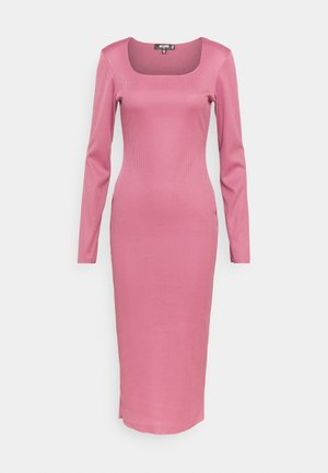 SQUARE NECK LONG SLEEVE MIDI DRESS - Vestido de tubo - pink