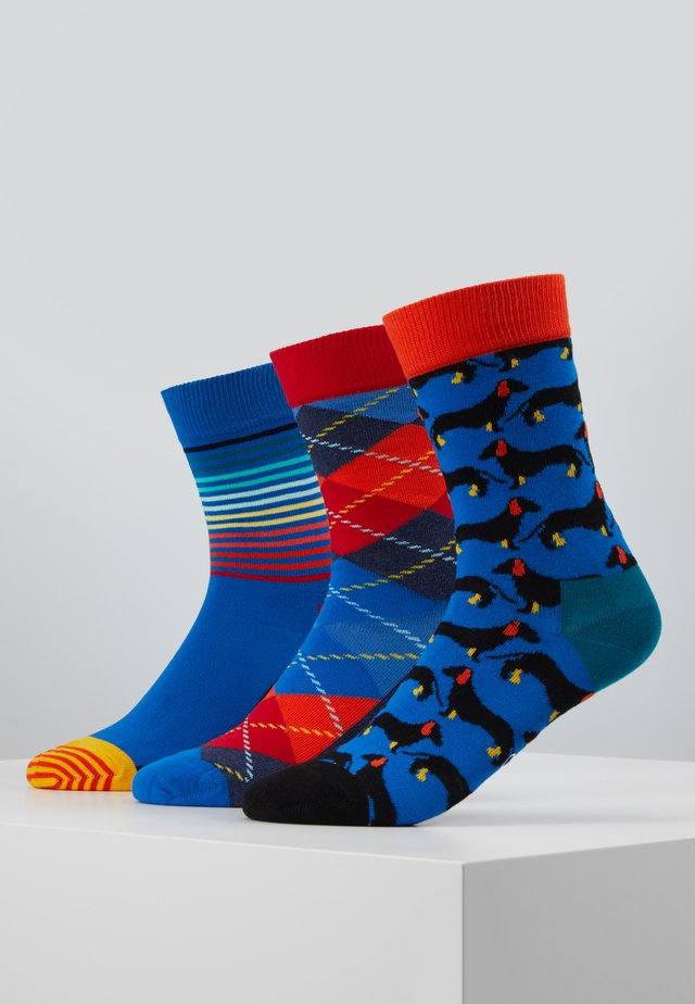 ARGYLE DOG HALF STRIPE SOCK 3 PACK - Socks - blue/multi-coloured