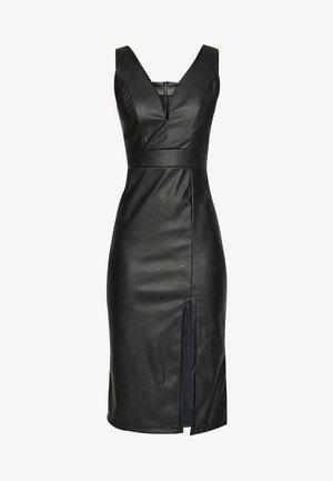 LEATHER LOOK MIDI DRESS - Robe fourreau - black