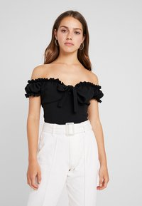Missguided Petite - MILKMAID TIE FRONT BARDOT - T-shirt con stampa - black - 0