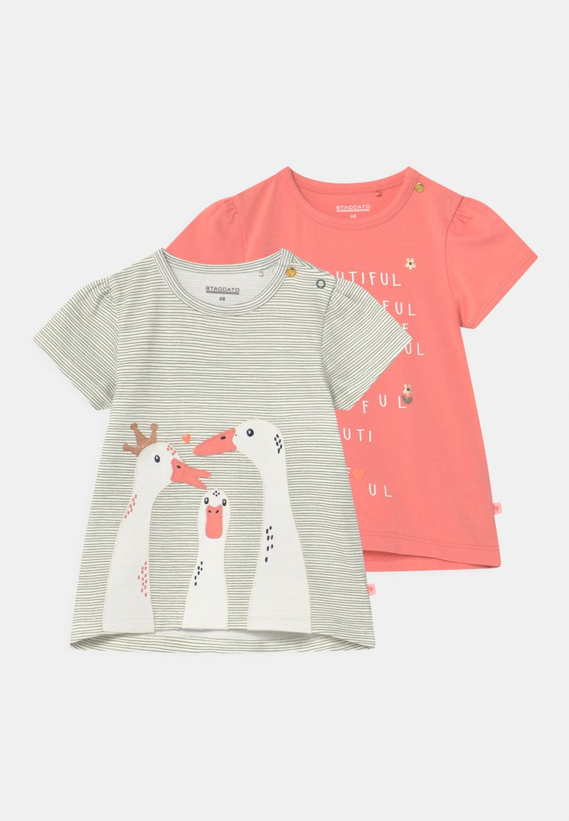Staccato - 2 PACK  - Print T-shirt - apricot/khaki