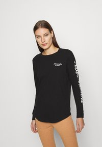 Abercrombie & Fitch - ITALIC LOGO TEE - Long sleeved top - black - 0