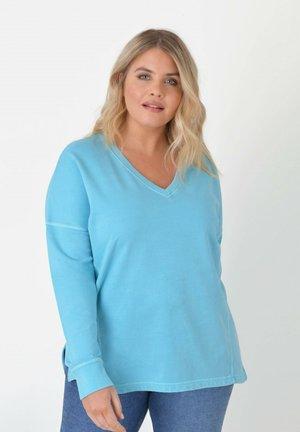 V NECK - Sweatshirt - turquoise