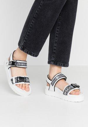 Sandalen met plateauzool - bianco/black/weiß