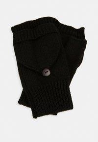 WOOL - Fingerless gloves - black