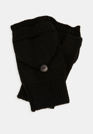 WOOL - Fingerless gloves - black
