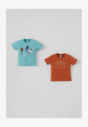2PACK - Print T-shirt - brown/blue