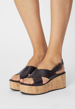 CLAUDIA - Wedge sandals - black
