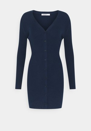 FRONT MINI DRESS LONG SLEEVES - Pletené šaty - navy