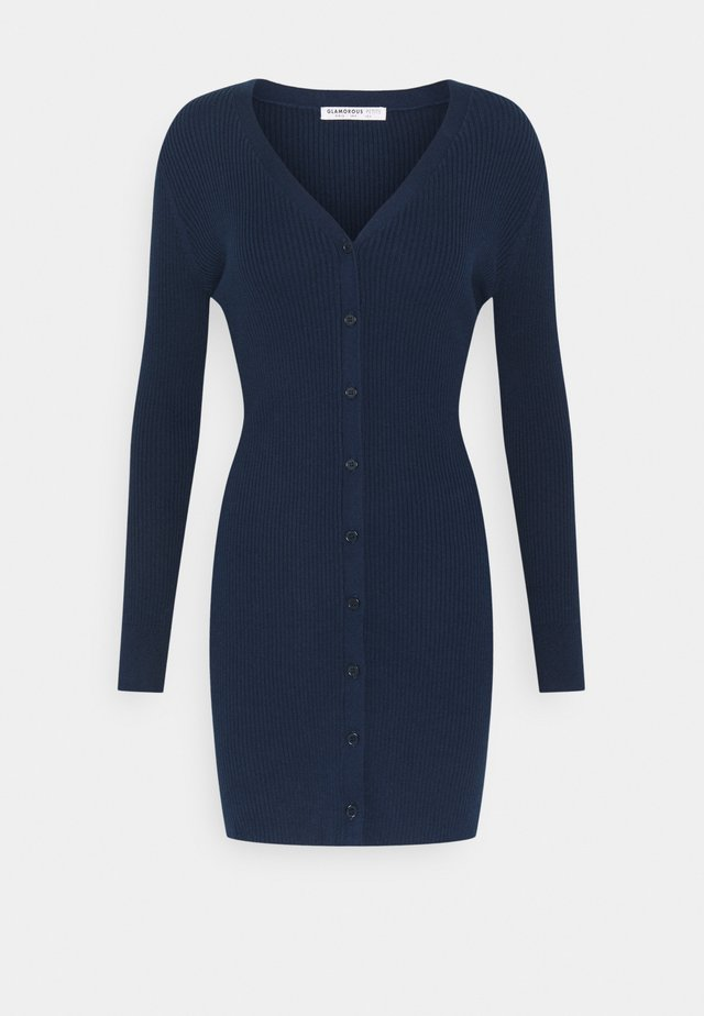 FRONT MINI DRESS LONG SLEEVES - Gebreide jurk - navy