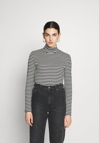 Benetton - TURTLE NECK  - Long sleeved top - black/white - 0