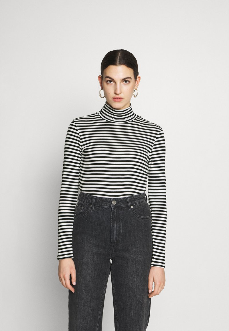 Benetton - TURTLE NECK  - Long sleeved top - black/white