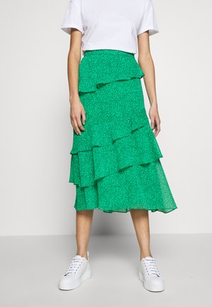 SKETCHED FLORAL TIERED SKIRT - A-line skirt - green