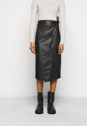 MURPHY - Leather skirt - black