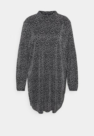 MONO PLISSE HIGH NECK SWING DRESS - Day dress - black