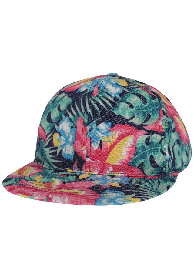 Gorra - dark blue denim/pink-blue flowers