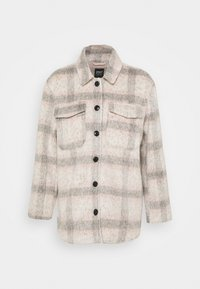 ONLKAWI CHECK SHACKET - Krátký kabát - light grey melange/pink/grey