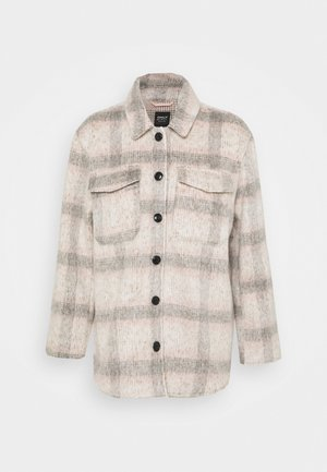 ONLKAWI CHECK SHACKET - Kort kåpe / frakk - light grey melange/pink/grey
