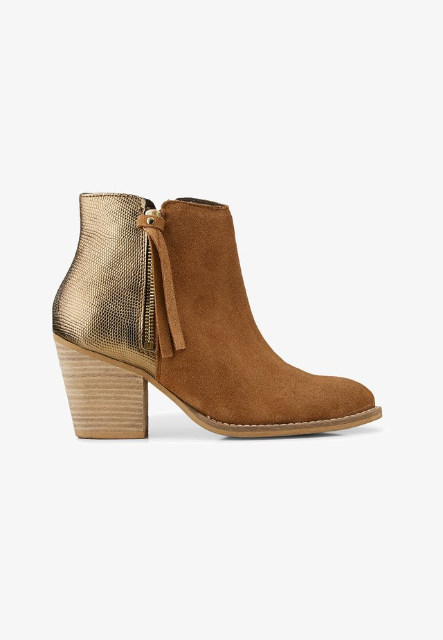 FASHION-STIEFELETTE - Classic ankle boots - mittelbraun