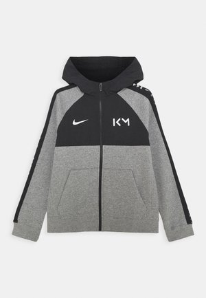 KYLIAN MBAPPE HYBRID HOODIE - Zip-up hoodie - carbon heather/black/white