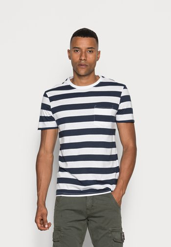 Print T-shirt - dark blue/white