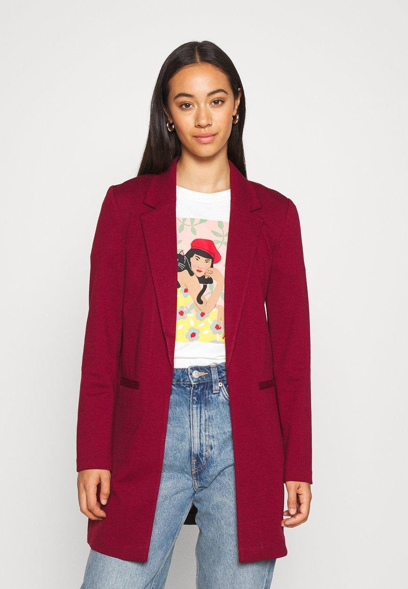 Vero Moda - VMCHLOE LONG BOO - Krótki płaszcz - cabernet