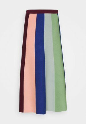 BLOCK STRIPE SOFT SKIRT - A-line skirt - wine/multi