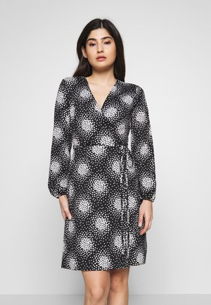 PETITE CLUSTER HEART MINI WRAP DRESS - Day dress - black