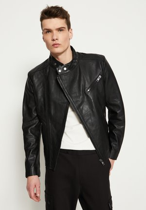 KANNON - Leather jacket - black