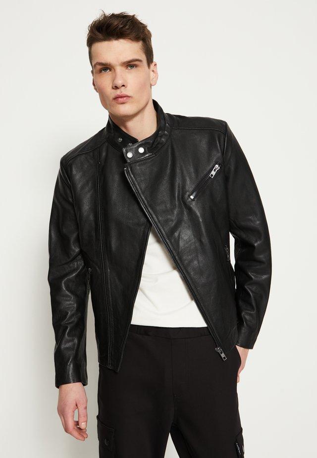 KANNON - Veste en cuir - black
