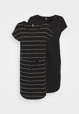 ONLMAY LIFE DRESS 2 PACK - Jersey dress - black/thin stripe/black solid