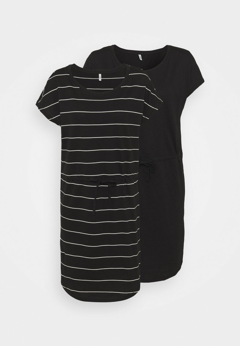 ONLY Tall - ONLMAY LIFE DRESS 2 PACK - Jerseykjole - black/thin stripe/black solid