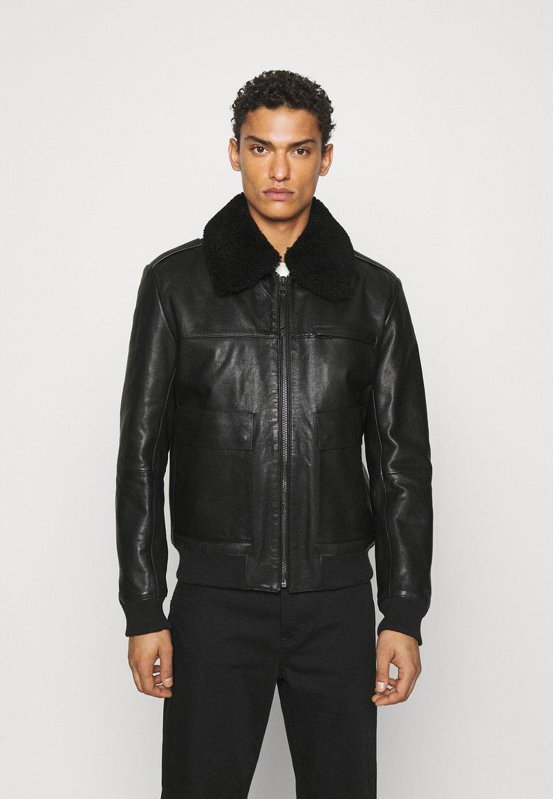 HUGO - LYAN - Leather jacket - black