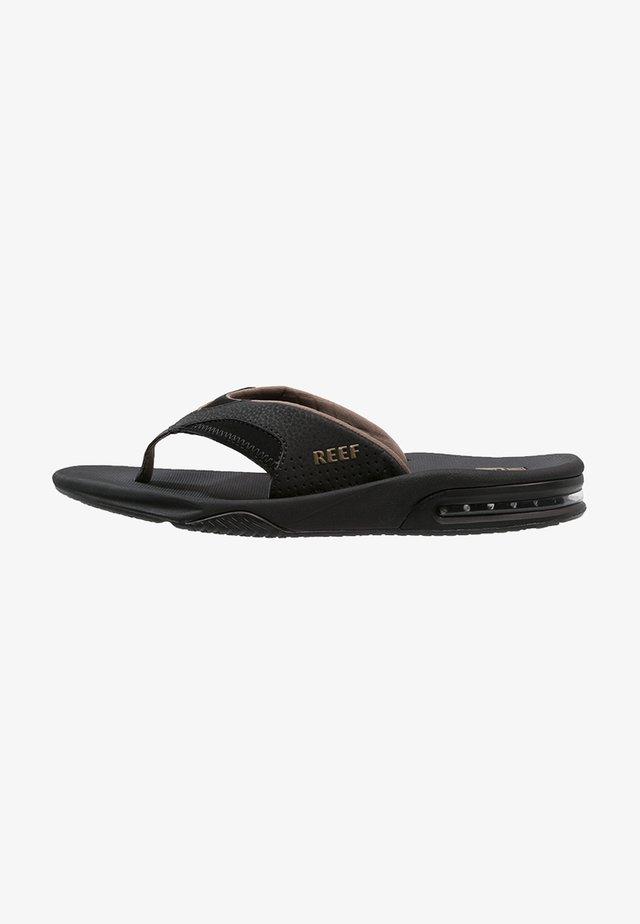FANNING - T-bar sandals - black/brown