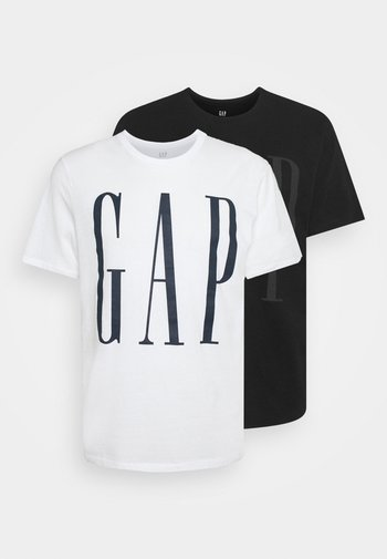 2 PACK - Print T-shirt - black/white