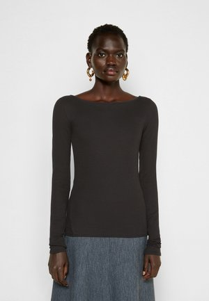 THE ESSENTIAL RIB BOATNECK - Long sleeved top - blk