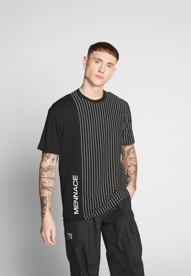 UNISEX VERTICAL STRIPE SIDE PRINT - Printtipaita - black