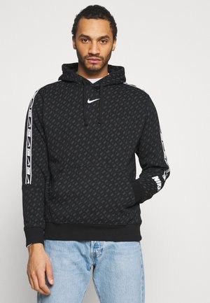 REPEAT HOOD - Sweater - black/white