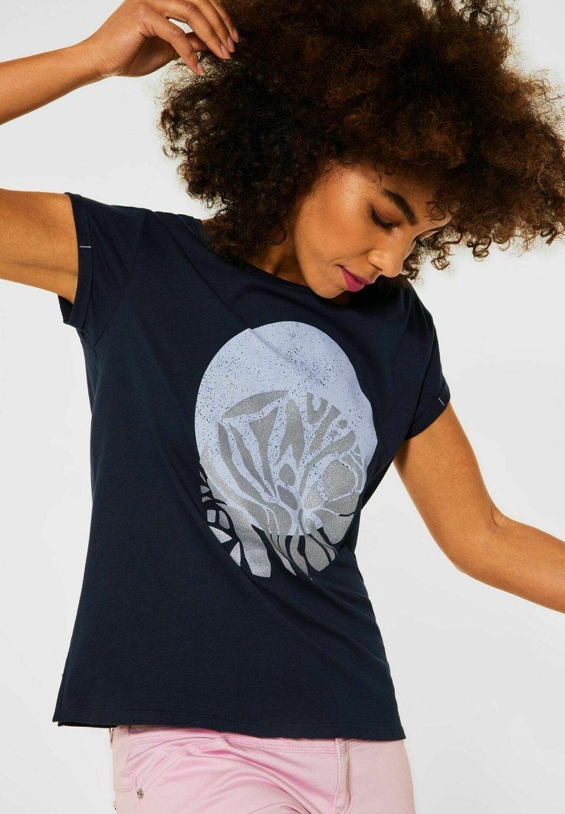 Street One - MIT PARTPRINT - Print T-shirt - blau
