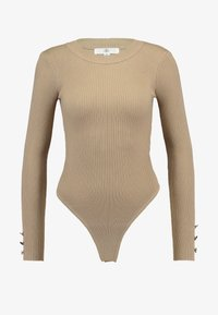 Missguided - BUTTON CUFF CREW NECK - Sweter - sand - 4