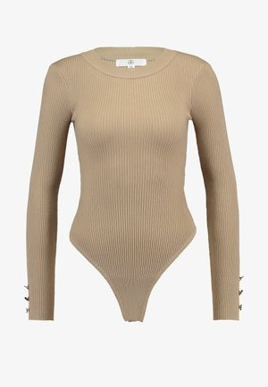 BUTTON CUFF CREW NECK - Jumper - sand